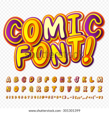Creative yellow - purple comic font. Alphabet in style of comics, pop art. Multilayer funny colorful 3d letters and figures for kids' illustrations, comics, banners. Characters are painted differently