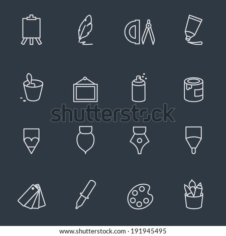 Creativity and drawing tools - stock vector