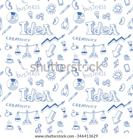 Creativity business idea doodle seamless pattern for your design project. Hand drawn vector illustration. Blue elements on white background