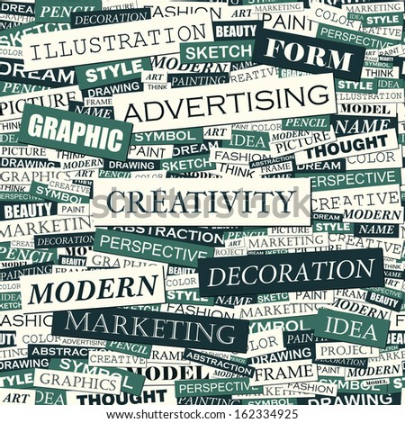 CREATIVITY. Concept illustration. Graphic tag collection. Word cloud collage. Vector illustration. - stock vector