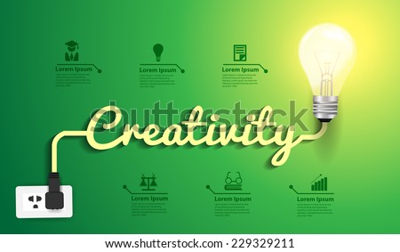 Creativity concept modern design template, Light bulb idea abstract infographic workflow layout, diagram, step up options, Vector illustration - stock vector
