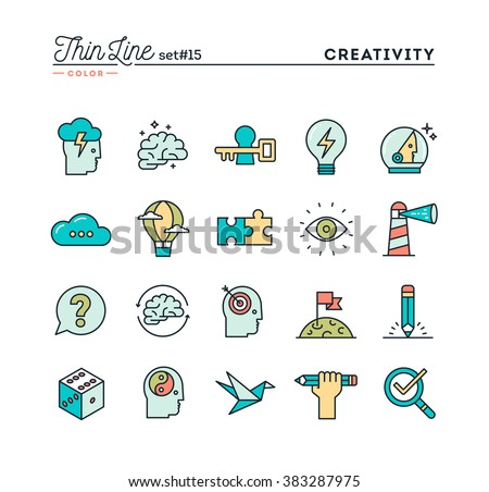 Creativity, imagination, problem solving, mind power and more, thin line color icons set, vector illustration - stock vector