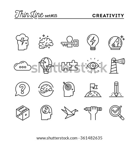 Creativity, imagination, problem solving, mind power and more, thin line icons set, vector illustration - stock vector