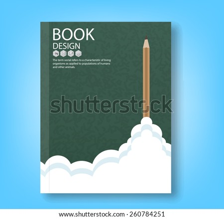 Creativity learning. report aircraft ship launch made with pencils, vector illustration - stock vector