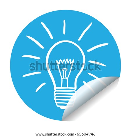 creativity or idea sticker - lightbulb in blue and white - stock vector