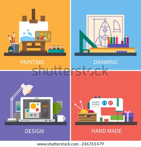 Creativity: painting, drawing, design, hand maid. Vector flat illustrations - stock vector
