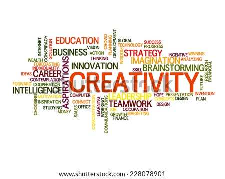 Creativity related words concept in word tag cloud - stock vector