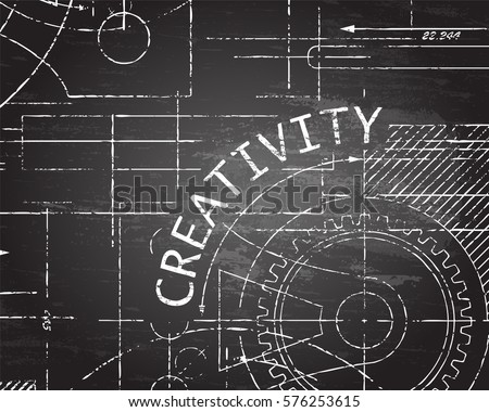 Creativity text with gear wheels hand drawn on blackboard technical drawing background