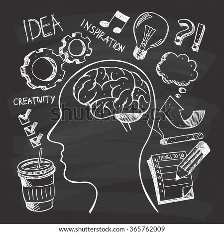 Creativity themed doodle on chalkboard background - stock vector