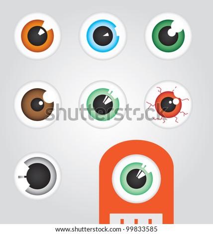 Creature Cartoon Eyeballs - stock vector