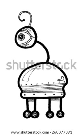 CREATURE people funny caricature graphic simple figure cartoon alien one eye hair lock wheels strange - stock vector