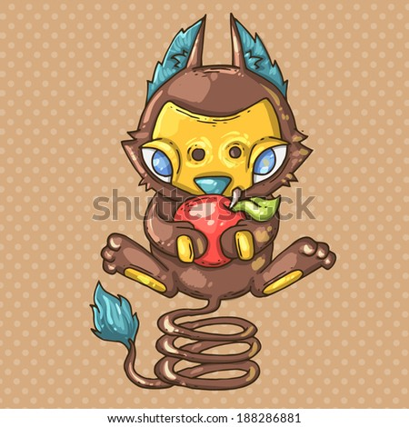 creature with apple - stock vector
