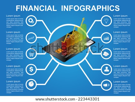 Credit Card and Graph. Economics & Finance Infographics. Workflow/Element Layout Design.  Vector Illustration. - stock vector
