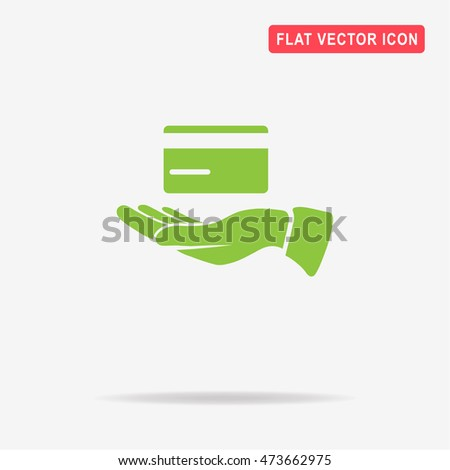 Credit card and hand icon. Vector concept illustration for design.