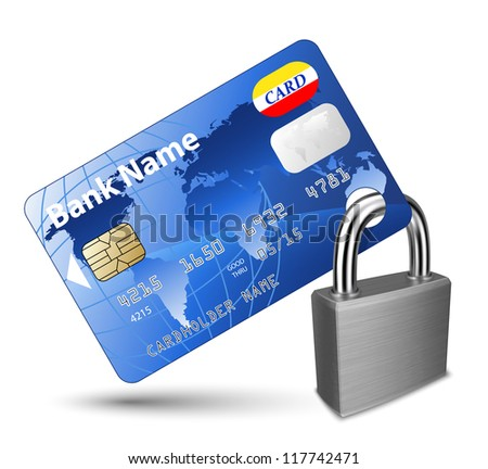 Credit card and Padlock. Concept of a safe payment - stock vector