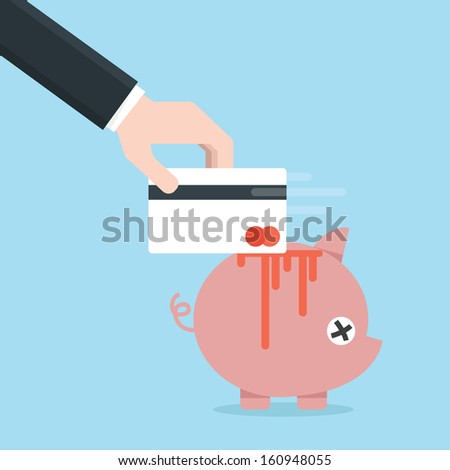 credit card and piggy bank, vector  - stock vector
