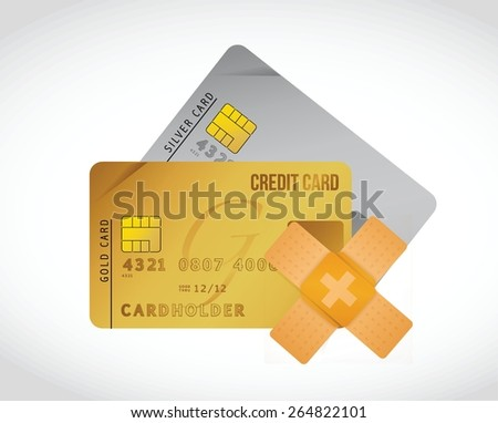 credit card band aid fix solution concept illustration design over white background