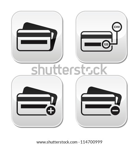 Credit Card, CVV code buttons set - stock vector