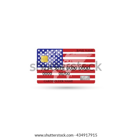 Credit card design with a flag of America over white background