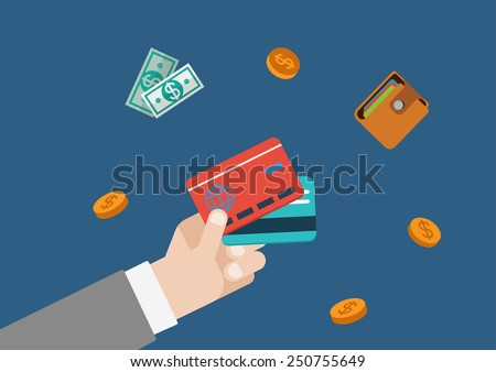 Credit card finance money payment flat vector web concept template illustration. Businessman hand holding bank cards, coins, wallet and bank notes. Monetary conceptual collection. - stock vector