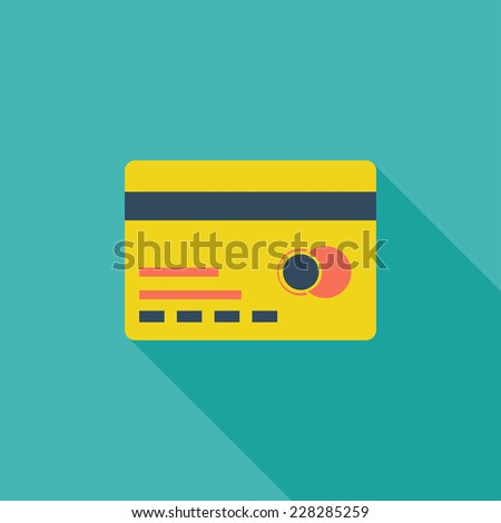 Credit card flat icon. Modern flat icons with long shadow effect in stylish colors. Icons for Web and Mobile Application. EPS 10. - stock vector