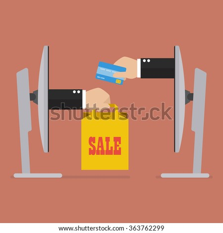 Credit card for shopping online. e-commerce concept - stock vector