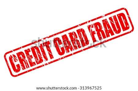 CREDIT CARD FRAUD red stamp text on white - stock vector