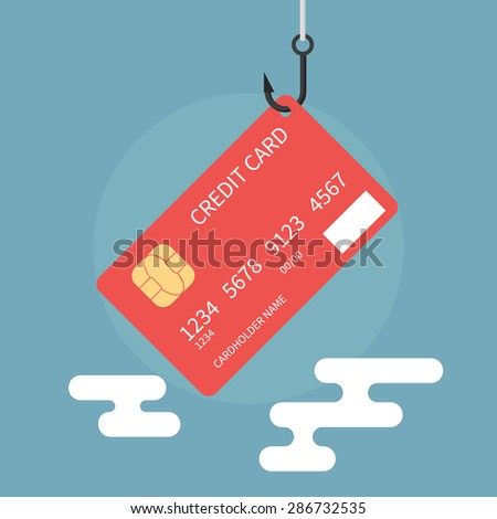Credit card fraud, theft of bank data - isolated flat vector illustration. - stock vector