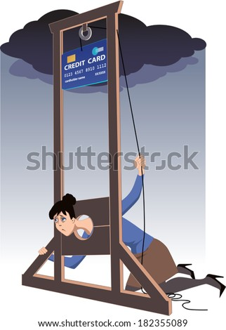 Credit card guillotine. Depressed woman lying in a guillotine and releasing a blade in a form of giant credit card - stock vector
