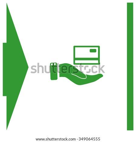 Credit card holding vector icon.