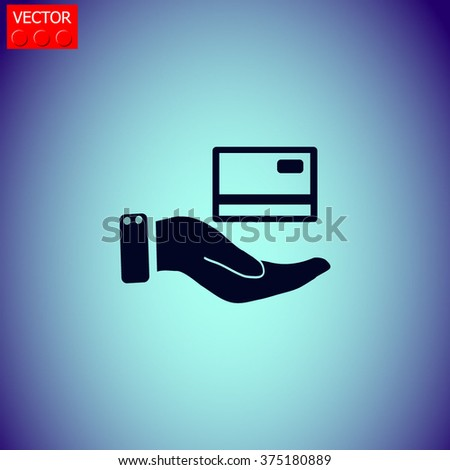 Credit card holding vector icon. - stock vector