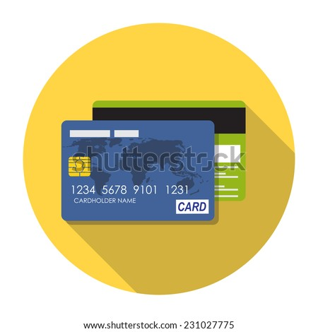 Credit Card Icon Flat Concept Vector Illustration  - stock vector