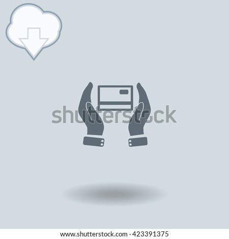 Credit card icon with shadow. Cloud of download with arrow. - stock vector