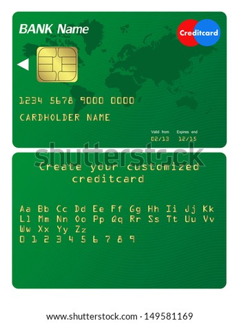 Credit card Illustration. Alphabet included to customize your card - stock vector