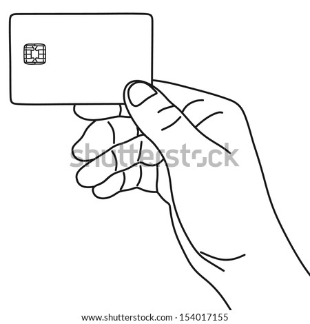 Credit card in hand  - stock vector
