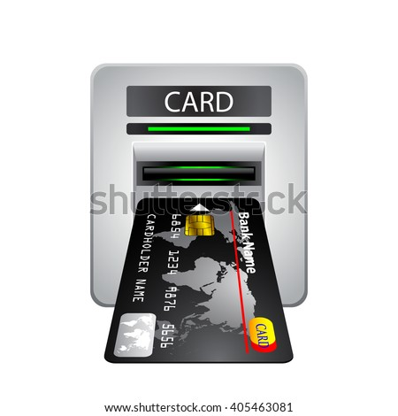 Credit card inserted in card reader, ATM cash machine
