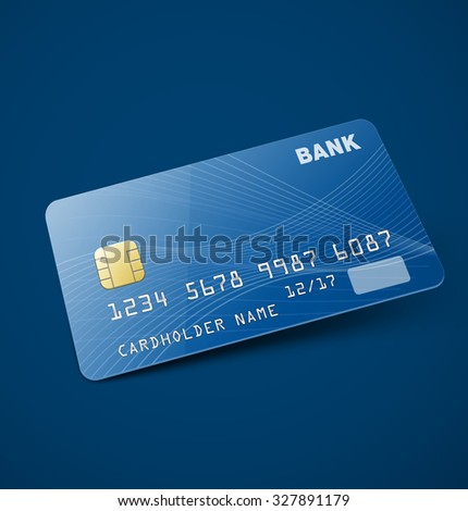 Credit card  isolated on blue background.