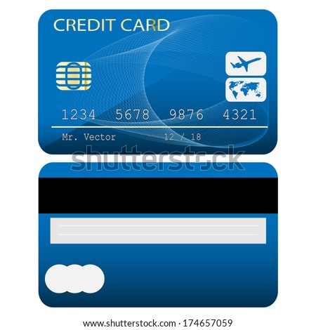 Credit card isolated on white background. Vector illustration. - stock vector