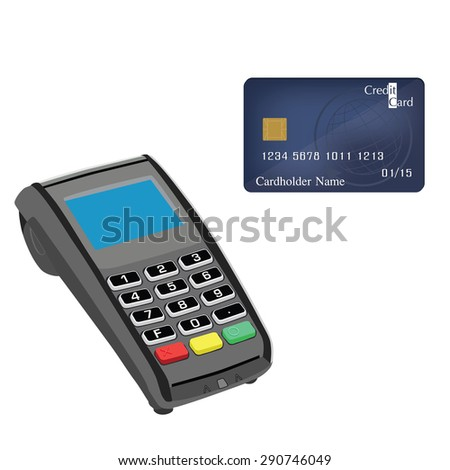 Credit card machine and credit card vector illustration. Credit card machine. Credit card scanner. Bank system - stock vector