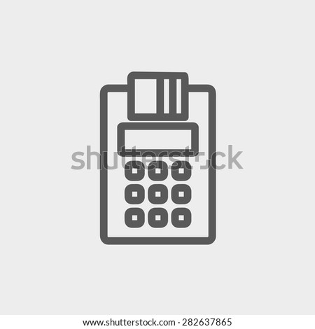 Credit Card Machine icon thin line for web and mobile, modern minimalistic flat design. Vector dark grey icon on light grey background. - stock vector