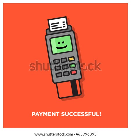 Credit Card Machine Payment Successful (Line Art Vector Illustration in Flat Style Design)