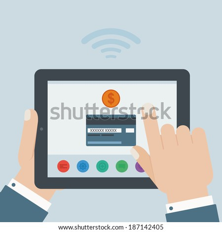 credit card mobile payment hand holding tablet flat design - stock vector