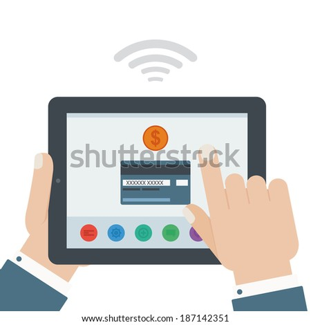 credit card mobile payment hand holding tablet flat design isolated background - stock vector