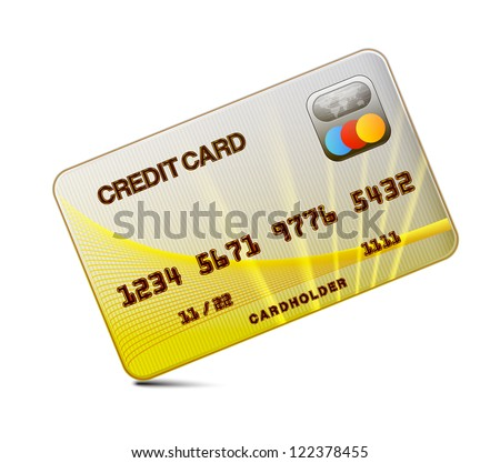 Credit card on a white background - stock vector