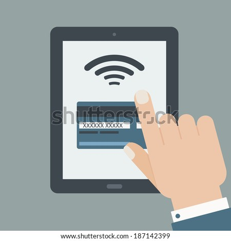 credit card payment hand holding tablet flat design - stock vector