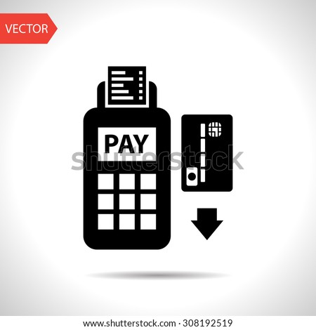 Credit card payment, magnetic stripe reading - stock vector