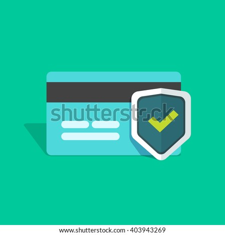 Credit card protection icon, secure payment sign, credit card with shield and green check mark flat simple vector illustration design isolated on greed background - stock vector