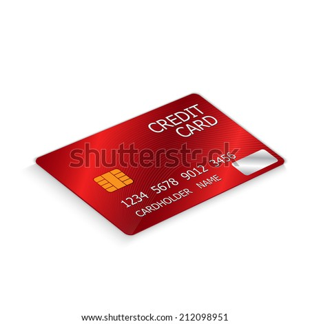 Credit Card (Red Color) Isolated on White Background.