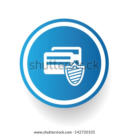 Credit card security symbol on blue button - stock vector