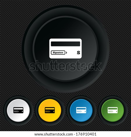 Credit card sign icon. Debit card symbol. Virtual money. Round colourful buttons on black texture. Vector - stock vector